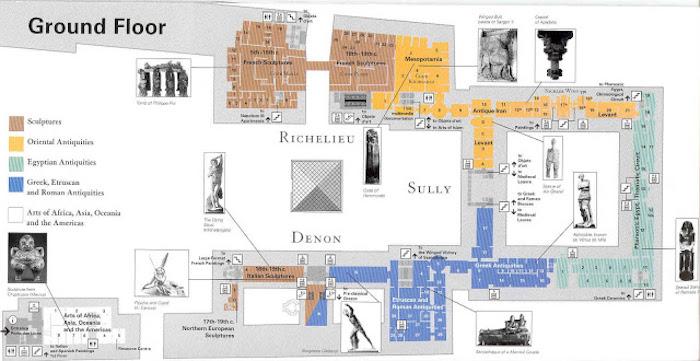 Coleções do Museu do Louvre em Paris - ground floor
