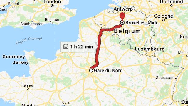 Mapa viagem de trem de Paris a Bruxelas