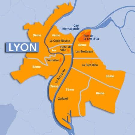 Mapa regiões Lyon