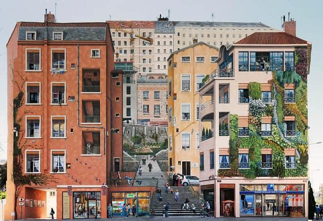 Les Murs Canut no bairro Croix Rousse em Lyon