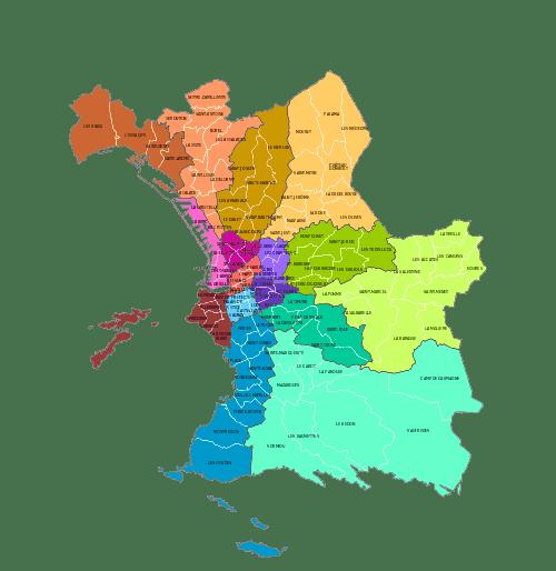 Mapa das regiões de Msrselha