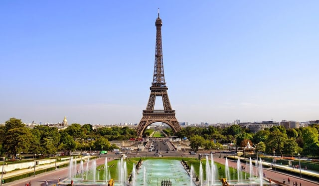 Torre Eiffel em Paris vista do Trocadero