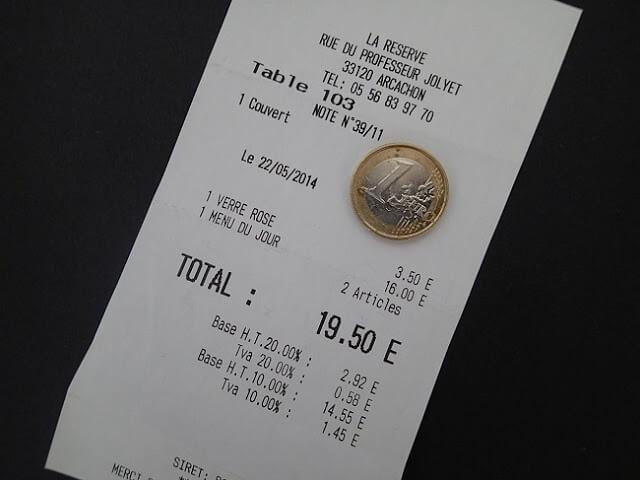Nota fiscal em Paris