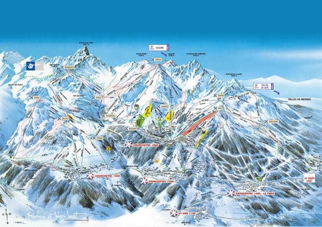 Pistas na Estação de Esqui Courchevel na França