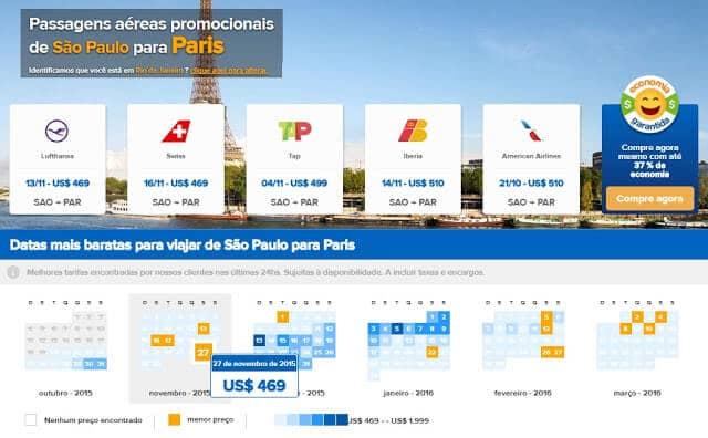 passagens em promoção para Paris