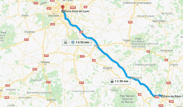 Mapa de viagem de trem de Dijon a Paris