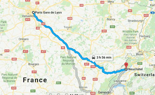 Mapa viagem de trem de Paris a Neuchatel