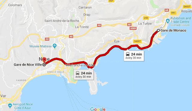 Mapa viagem de trem de Nice a Mônaco