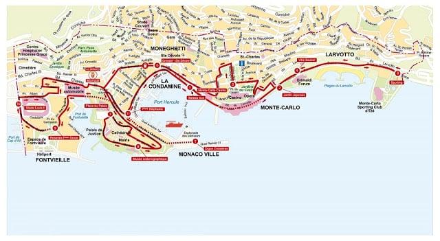 Mapa do ônibus turístico em Mônaco